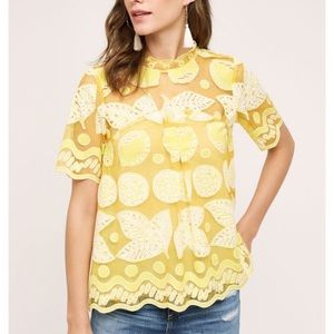 Anthropologie HD in Paris lemon lily lace top